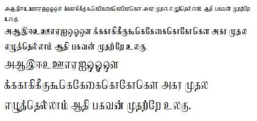 Sundaram Regular Tamil Font